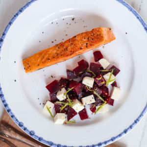 Salmon with Beetroot and Feta Salad